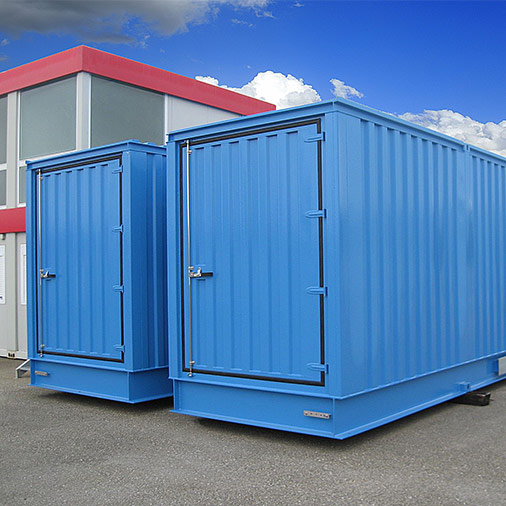 12x2.4 meter technical shelters with front door, which fit the most diversified applications – Serie Shelter Modules