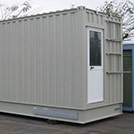 8.5x2.4 meter technical shelter with half-glass door, which fits the most diversified applications - Series SHELTER Modules