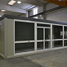 9.1x2.9 meter glazed modular unit used as point of sale - Series M1