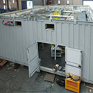 Top view of the modular construction with large-sized water heaters for the Oil & Gas industry - Series SHELTER Modules