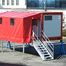 Firemen accommodation module with roofing, dim. 13.6x2.4 meters - Module series M1