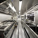 Inner view of 6.0x2.4 meters kitchen module for the Civilian Protection - Module series M1