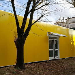 School complex with external thermal insulation coating