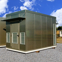 Environmental telecommunications shelters with small front and rear roofing - Series Shelter Modules