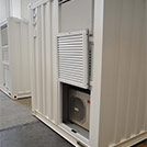 12x2.4 meter containers for welding workshop, detail of the A/C compartment  – Series SHELTER Modules