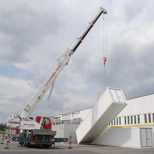 12x2.4 meter container lifting tests for welding workshop - Modules Series Shelter